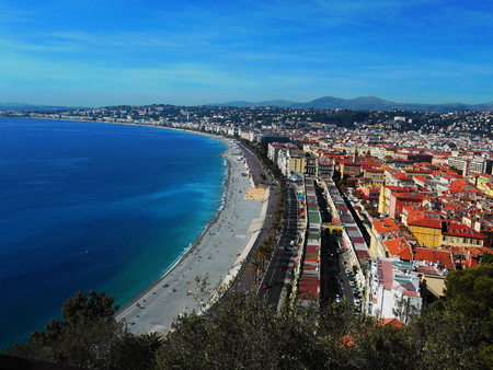 View of the Promenade des Anglais along the Mediterranean at Nice, France