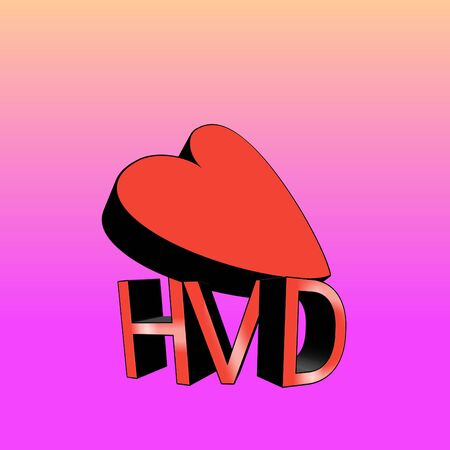 HVD or Happy Valentines Day with big 3d heart shape and light purple and pink background. For the day that celebrating of love, feelings, couples, humanity, cultures, passion events.