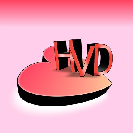 HVD or Happy Valentines Day with big 3d heart shape and light red background. For the day that celebrating of love, feelings, couples, humanity, cultures, passion events. Stok Fotoğraf