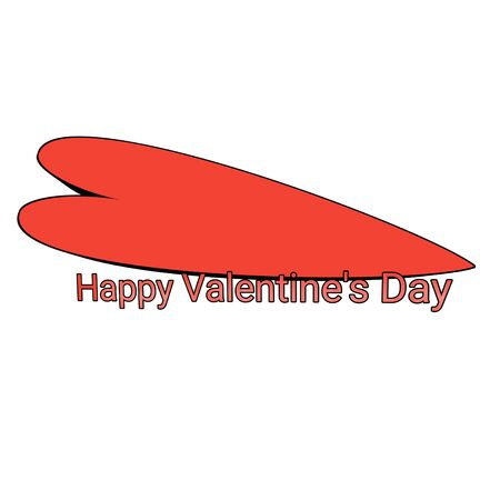 Happy Valentines Day with big 3d red heart shape and white background isolated. For the day that celebrating of love, feelings, couples, humanity, cultures, passion events.