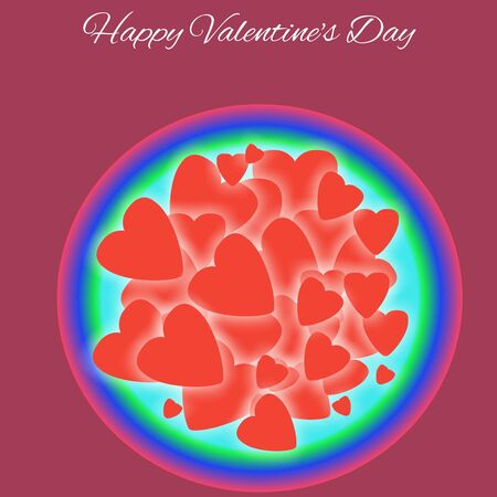 Glowing red hearts in bright multicolored circular bowl with Happy Valentine's Day typography above and dark purple color background. For the day that celebrating of love, feelings, couples, humanity. Standard-Bild
