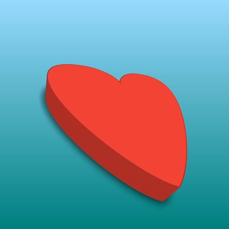Cool big red heart with shadow isolated on fresh light blue background. 3d illustration. For your love or healthy concepts such as Valentines Day, wedding, anniversary, couples, health, workout.