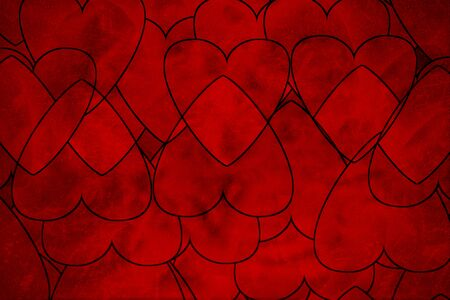 Red grunge shaped hearts with black strokes intersecting or uniting. For your unique Valentine, celebrating of love concepts, different website, background or banner, wrapping stuff or texture.