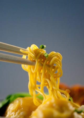 chinese bowl: Chinese Wanton Noodle Soup Stock Photo