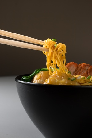 noodle bowl: Chinese Wanton Noodle Soup Stock Photo