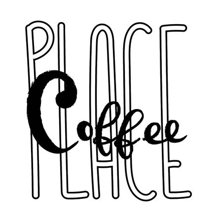 Coffee typography sign. Coffee text for decoration, shop, cup, machine. Cafe sign template. Caffeine lettering hand drawn. Calligraphy for coffee unique. Decorative type for home, print.