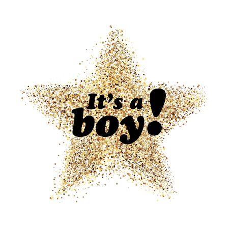 Its a boy confetti decoration. Family celebration decor. Congratulations template design. Baby shower design invitation, postcard, illustration. Ilustracja