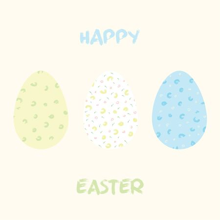 Easter eggs for holiday celebration card template. For print and web spring seasonal greetings. Retro style beautiful holidays celebration card with eggs.