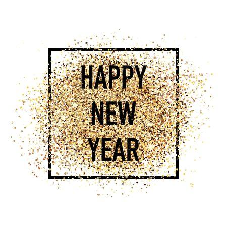 Feliz año nuevo decoración de postal de confeti. Para los saludos de temporada de invierno impresos y web. Tarjeta de celebración de hermosas vacaciones de estilo retro. Ilustración de vector
