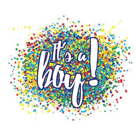 Its a boy confetti decoration. Family celebration decor. Congratulations template design. Baby shower design invitation, postcard, illustration. Иллюстрация