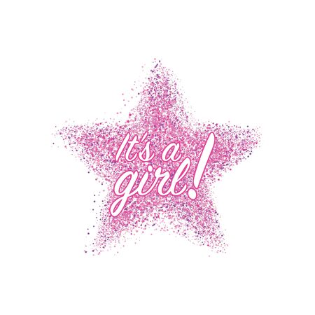 Its a girl confetti decoration. Family celebration decor. Congratulations template design. Baby shower design invitation, postcard, illustration. Иллюстрация