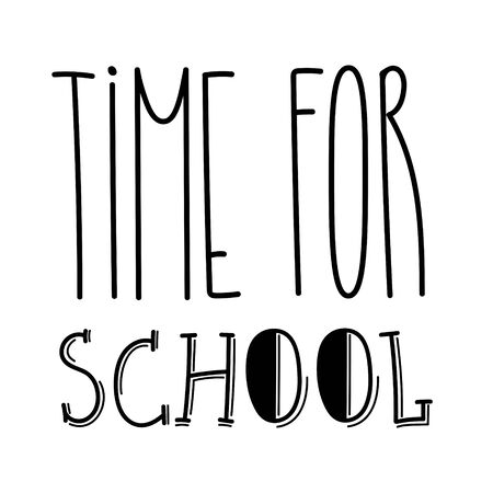 School typography sign for children. Start of the educational season, year, semester. Hand drawn unique lettering design for kids. Back to school text symbol. Funny font phrase for print, web. Vettoriali