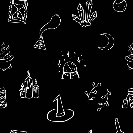 Seamless witchcraft elements vector pattern. Suitable for textile, print, decoration, clothes. Halloween and autumn decor. Paper design style. Children and kids decor.