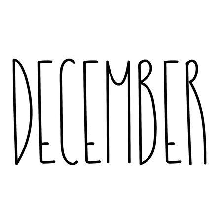 Month text for print, web, decoration. Hand drawn unique lettering sign. Calendar typography. Elegant font for poster, cover, template. Seasonal lettering design. Ilustração