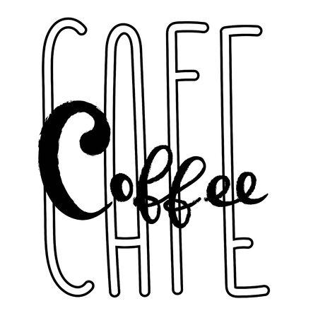 Coffee typography lettering sign logo design template Ilustração