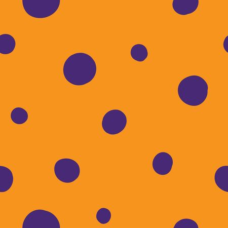 Seamless dots vector pattern. Suitable for textile, print, decoration, clothes. Halloween and autumn decor. Paper design style. Children and kids decor. Spooky wallpaper. Иллюстрация