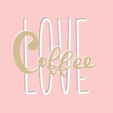 Coffee typography lettering sign logo design template Illustration
