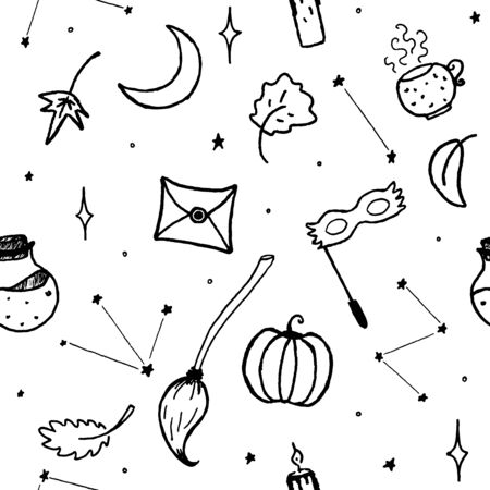 Magic elements for halloween autumn magic decoration. Seamless pattern background.