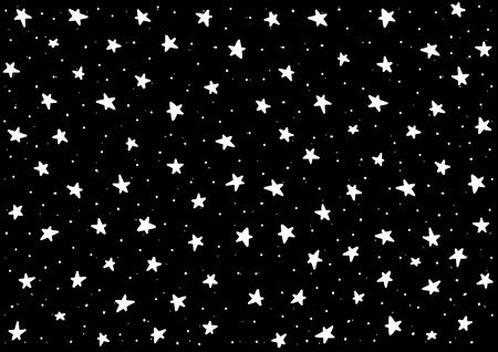 Doodle-Sterne-Kunst. Vektor Sterne isolierten Hintergrund. Muster für Kinder, Babys, Kleinkinder. Nachthimmel handgezeichnet. Hintergrund für die Dekoration der Babyparty. Tapeten-Vintage-Design, Konfetti im Retro-Stil.