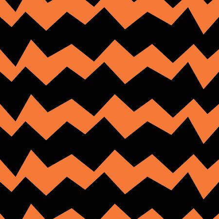 Seamless zig zag vector pattern. Suitable for textile, print, decoration, clothes. Halloween and autumn decor. Paper design style. Children and kids decor. Spooky wallpaper. Иллюстрация
