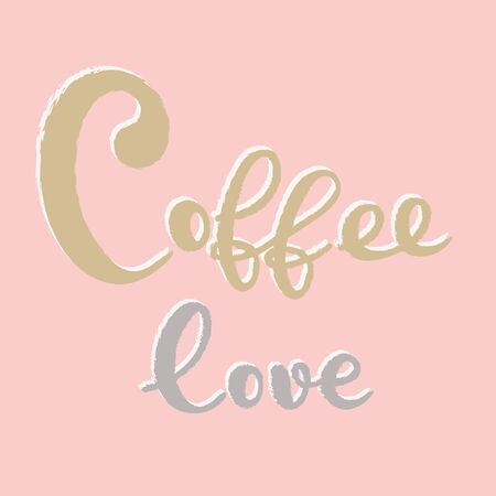Coffee typography sign. Coffee text for decoration, shop, cup, machine. Cafe sign template. Caffeine lettering hand drawn. Calligraphy for coffee. Decorative type for home, print. Stok Fotoğraf - 133378968