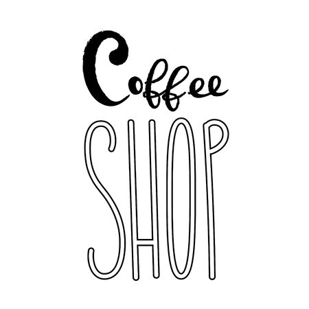 Coffee typography sign. Coffee text for decoration, shop, cup, machine. Cafe sign template. Caffeine lettering hand drawn. Calligraphy for coffee. Decorative type for home, print. Stok Fotoğraf - 133380108