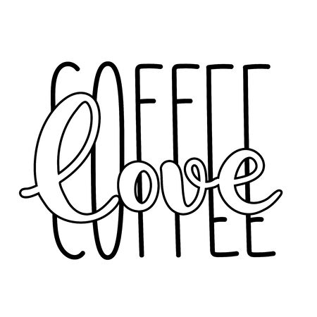 Coffee typography sign. Coffee text for decoration, shop, cup, machine. Cafe sign template. Caffeine lettering hand drawn. Calligraphy. Decorative type for home, print.