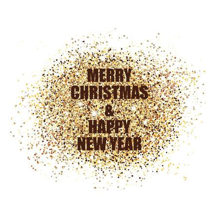 Happy new year confetti postcard decoration. For print and web winter seasonal greetings. Retro style beautiful holidays celebration card.