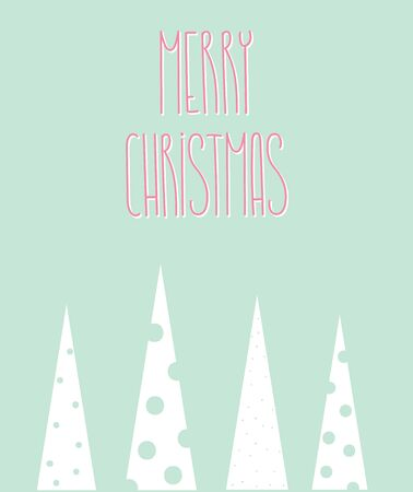 Merry Christmas and happy new year postcard template. For print and web winter seasonal greetings. Retro style beautiful holidays celebration card. Scandinavian design with Christmas trees decor.