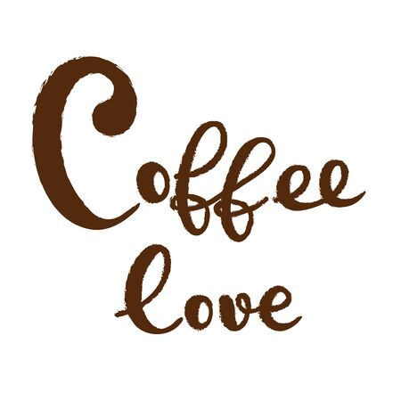 Coffee typography sign. Coffee text for decoration, shop, cup, machine. Cafe sign template. Caffeine lettering hand drawn. Calligraphy for coffee. Decorative type for home, print. Stok Fotoğraf - 133380386