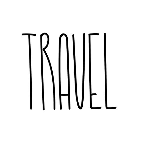 Travel lettering illustration. Text for travel inspiration. Time to travel postcard template. Banner, poster, card calligraphy. Journey text for print or web. Hand drawn text for holidays season. Çizim