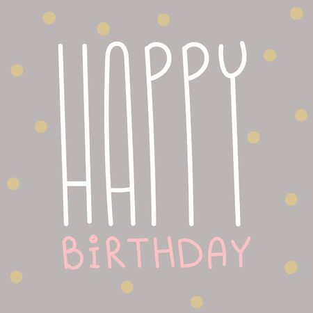 Happy birthday greeting card. Birthday celebration postcard. Congratulations banner. Party vintage style background art. Decorative wallpaper in lovely retro style. Çizim