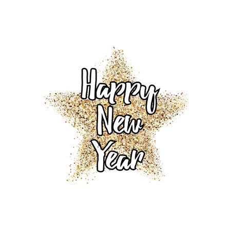 Happy new year postcard decoration with confetti. For print and web winter seasonal greetings. Retro style beautiful holidays celebration card.