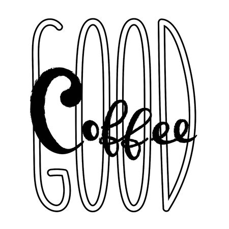 Coffee typography sign. Coffee text for decoration, shop, cup, machine. Cafe sign template. Caffeine lettering hand drawn. Calligraphy for coffee. Decorative type for home, print. Stok Fotoğraf - 133380480