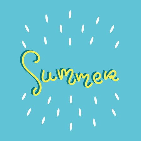 Summer fun font text in cute letters. Inspirational phrase for decoration template. Customized font for logo, label, poster, postcard.