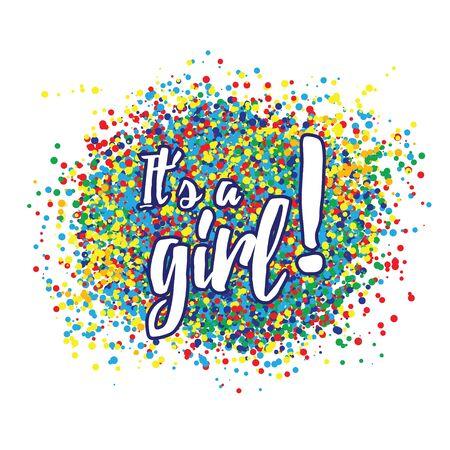 Its a girl confetti decoration. Family celebration decor. Congratulations template design. Baby shower design invitation, postcard, illustration. Çizim