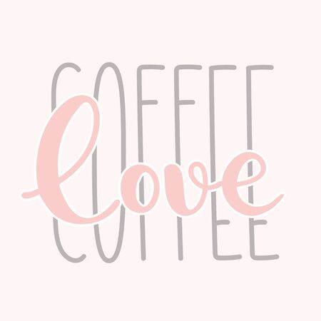Coffee typography sign. Coffee text for decoration, shop, cup, machine. Cafe sign template. Caffeine lettering hand drawn.