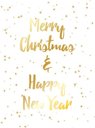 Merry Christmas and happy new year postcard template. For print and web winter seasonal greetings. Retro style beautiful holidays celebration card with gold, stars, snow.