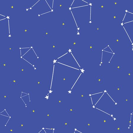 Constellations stars seamless pattern, horoscope, decoration. Suitable for children, kids, babies. Astrological signs on background. Symbols of astrology for print or web.  イラスト・ベクター素材