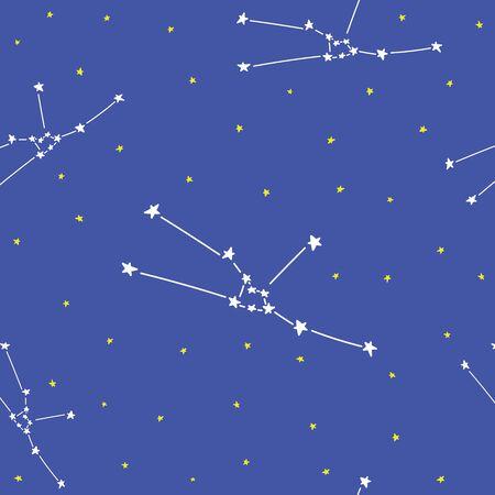 Constellation stars set horoscope decoration seamless pattern  イラスト・ベクター素材