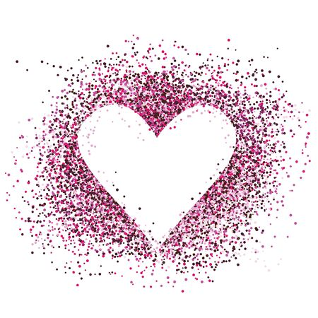 Confetti love heart template design for valentine day. Romantic holiday decoration. Art for home, print, web, banners, posters. Valentines day and Wedding anniversary illustration. 写真素材 - 139174905