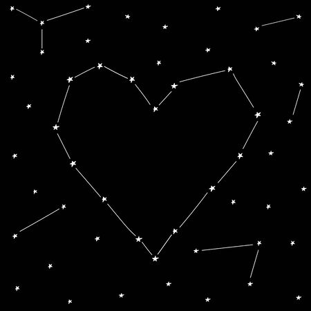 Stars love heart template design for valentine day. Romantic holiday decoration. Art for home, print, web, banners, posters. Valentines day and Wedding anniversary illustration.