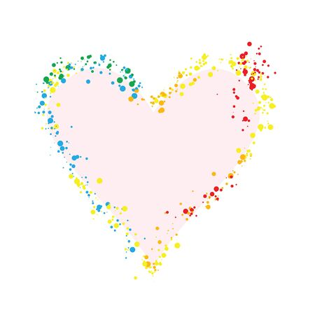 Confetti love heart template design for valentine day. Romantic holiday decoration. Art for home, print, web, banners, posters. Valentines day and Wedding anniversary illustration.