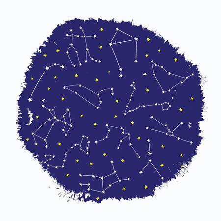 Cosmos constellation stars horoscope decoration blue pattern