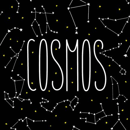 Cosmos constellation stars horoscope decoration seamless pattern