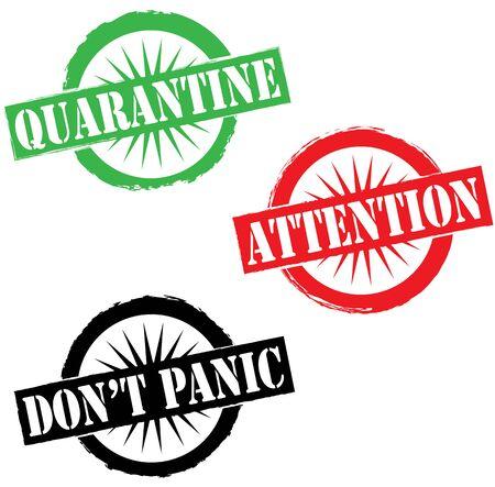 Coronavirus pandemic attention global crisis template stamp Vettoriali
