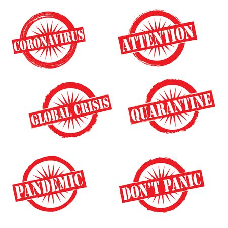 Coronavirus pandemic attention global crisis template stamp