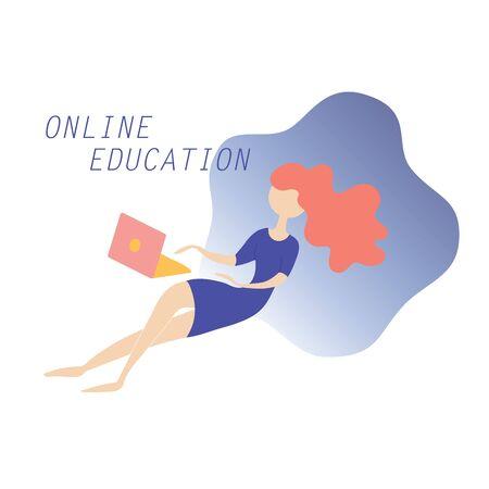 Online education girl student template design concept