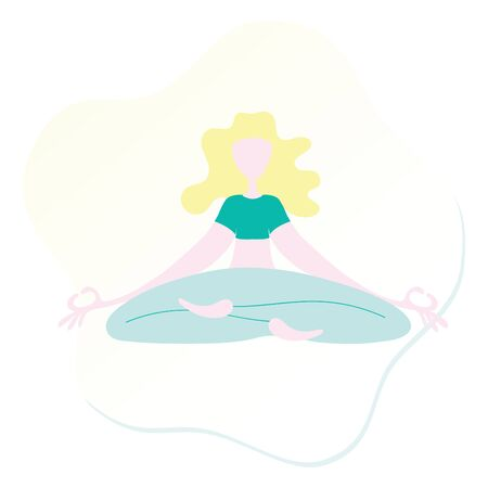 Yoga lady in asana vector illustration template