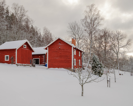 three red houses with snow on the ground and forest in the background